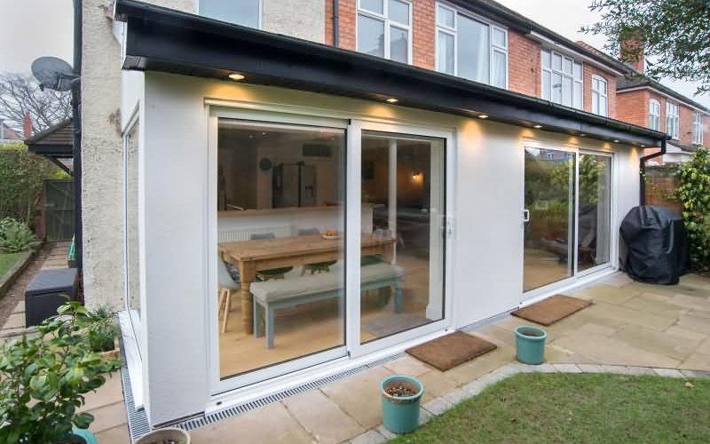 Rear single storey kitchen extension viewed from garden