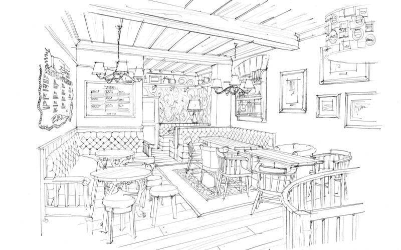 Pub seating plan drawing